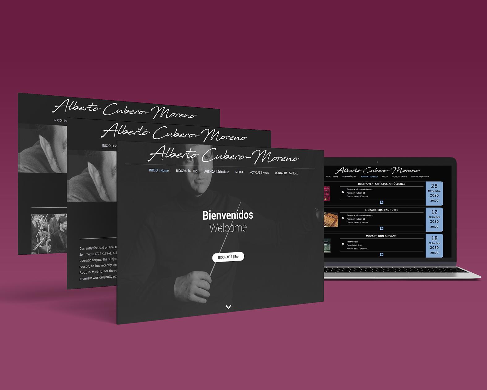Diseño web. Alberto Cubero, director de orquesta.