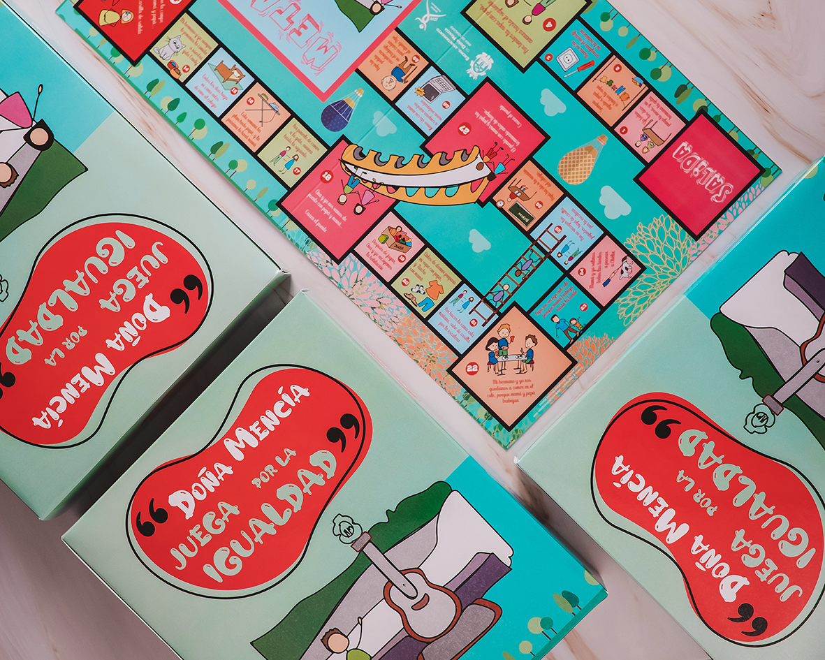 """Diseño e impresión de juego de la oca, """"Doña Mencía juega por la igualdad"""""""